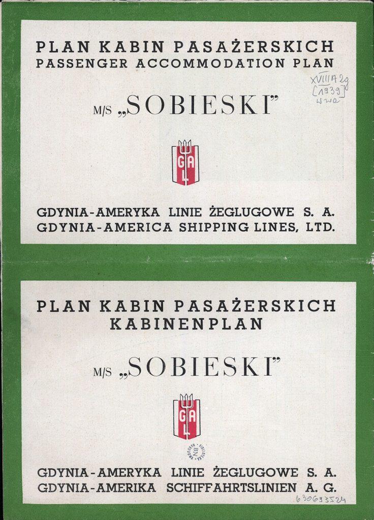 """m/s """"Sobieski"""" Plan kabin pasażerskich"""