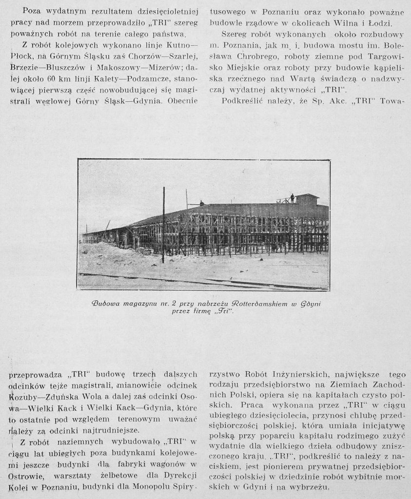 """""""TRI"""" Towarzystwo Robót Inżynierskich Spółka Akc. w Poznaniu"""