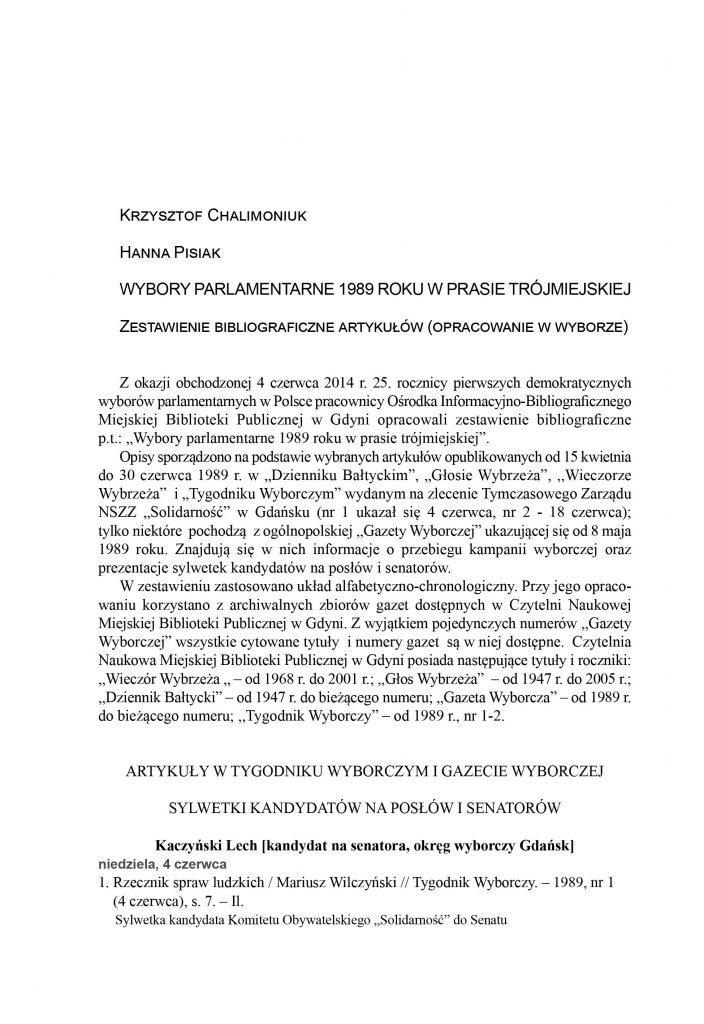 Wybory parlamentarne 1989 roku w prasie trójmiejskiej: zestawienie bibliograficzne artykułów (opracowanie w wyborze)