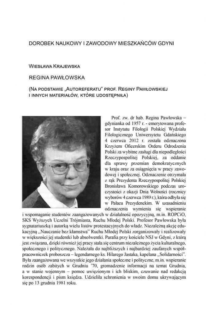 """Regina Pawłowska (na podstawie """"Autoreferatu"""" prof. Reginy Pawłowskiej i innych materiałów, które udostępniła)"""