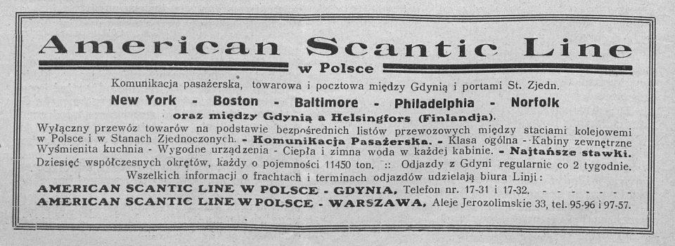 American Scantic Line w Polsce Komunikacja pasażerska towarowa i pocztowa między Gdynią i portami St. Zjedn.