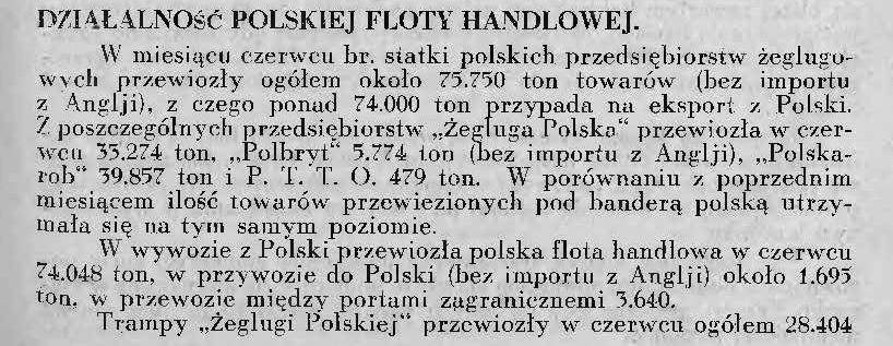 Działalność polskiej floty handlowej