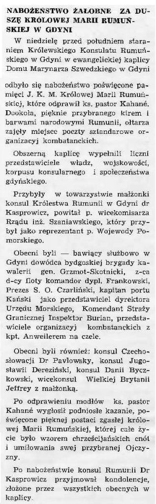 Nabożeństwo żałobne za duszę królowej Marii Rumuńskiej w Gdyni