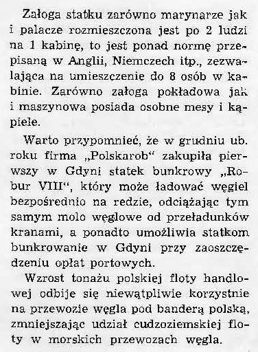 Nowy polski statek węglowy Robur VIII