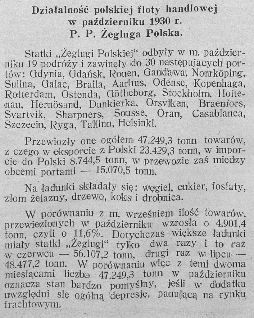 Działalność polskiej floty handlowej w październiku 1930 r. P. P. Żegluga Polska