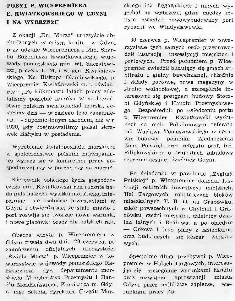 Pobyt p. wicepremiera E. Kwiatkowskiego w Gdyni i na wybrzeżu