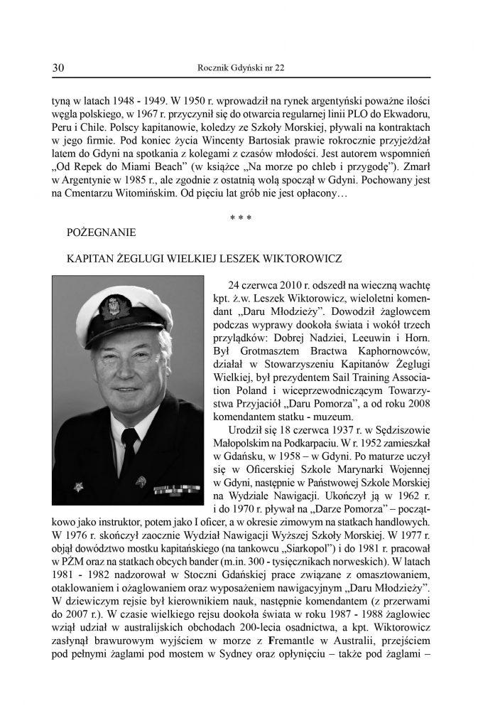 Pożegnanie: kapitan żeglugi wielkiej, Leszek Wiktorowicz