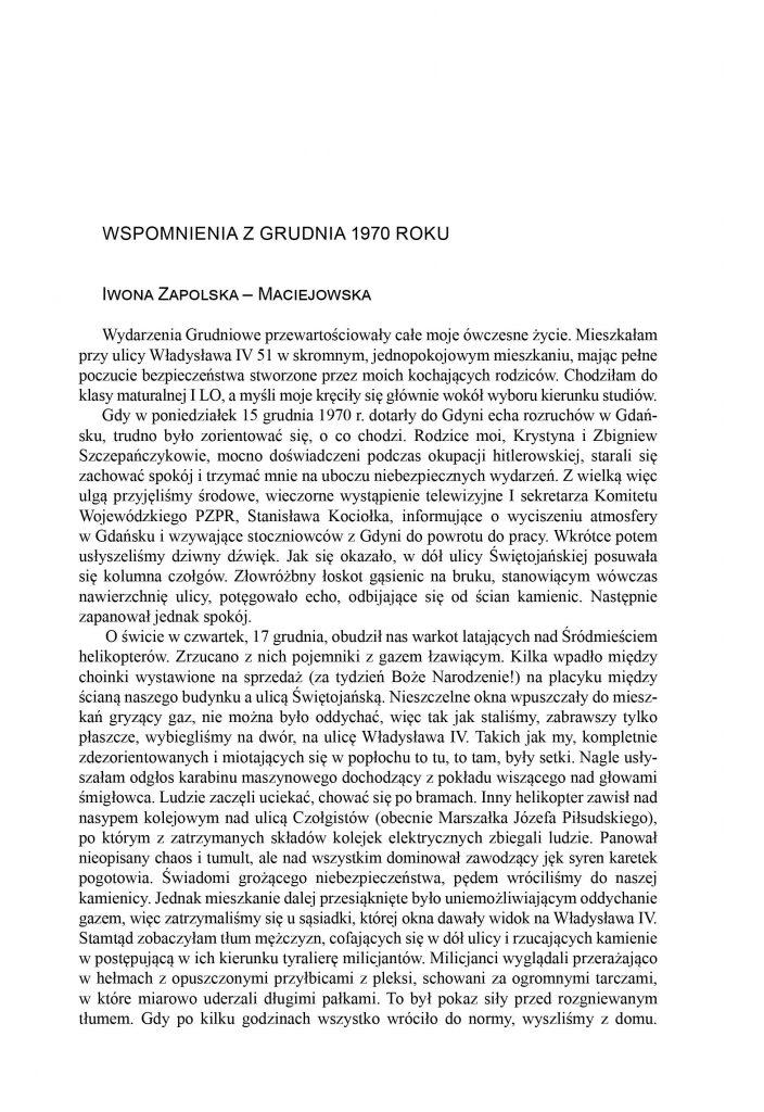 Wspomnienia z Grudnia 1970 roku / Iwona Zapolska-Maciejowska