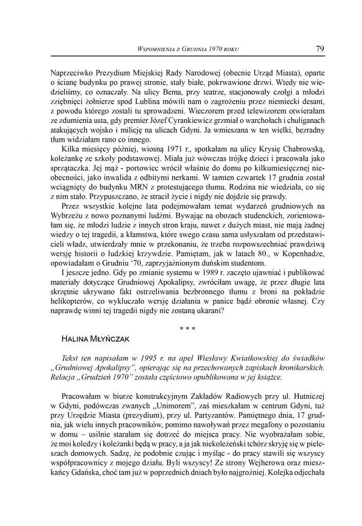 Wspomnienia z Grudnia 1970 roku / Halina Mlyńczak