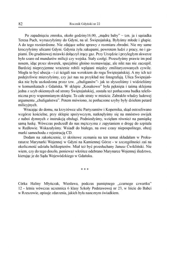 Wspomnienia z Grudnia 1970 roku / Wieslawa Młyńczak