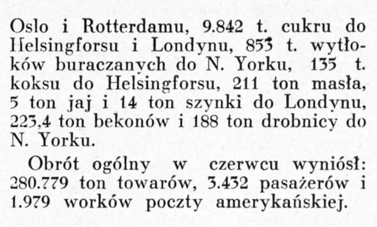 Ruch portowy Gdyni w czerwcu [1930]