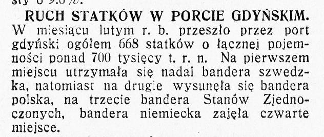 Ruch statków w porcie gdyńskim [w lutym 1936 r.]