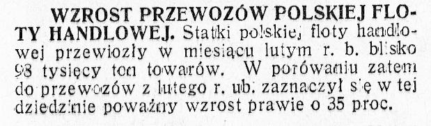 Wzrost przewozów polskiej floty handlowej