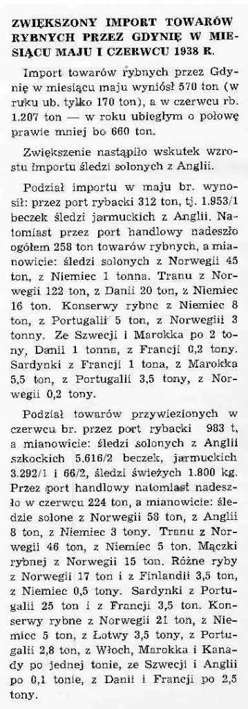 Zwiększony import towarów rybnych przez Gdynię w miesiącu maju i czerwcu 1938 r.