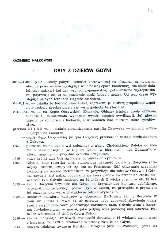 Daty z dziejów Gdyni