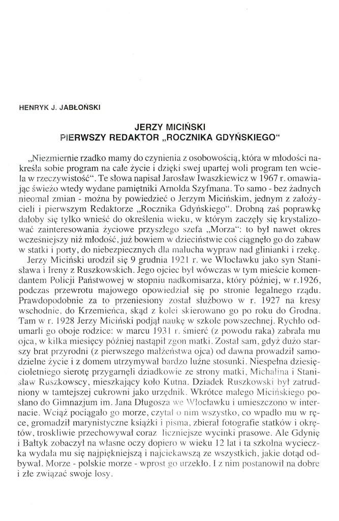 """Jerzy Miciński pierwszy redaktor """"Rocznika Gdyńskiego"""""""