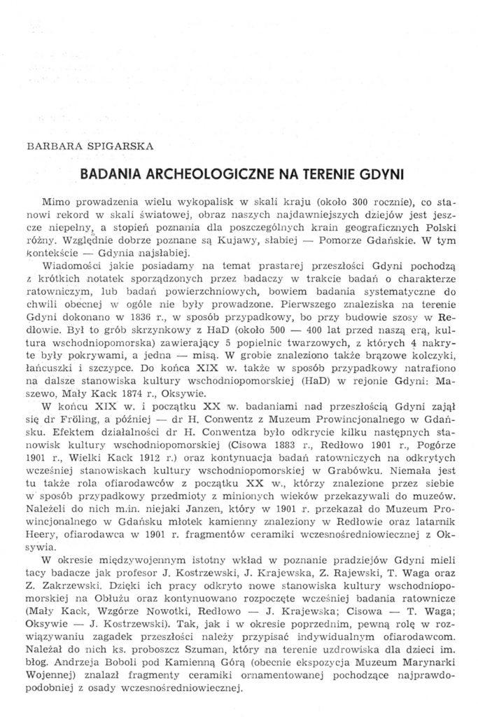 Badania archeologiczne na terenie Gdyni