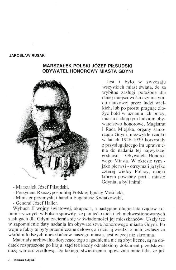 Marszałek Polski Józef Piłsudski Obywatel Honorowy Miasta Gdyni
