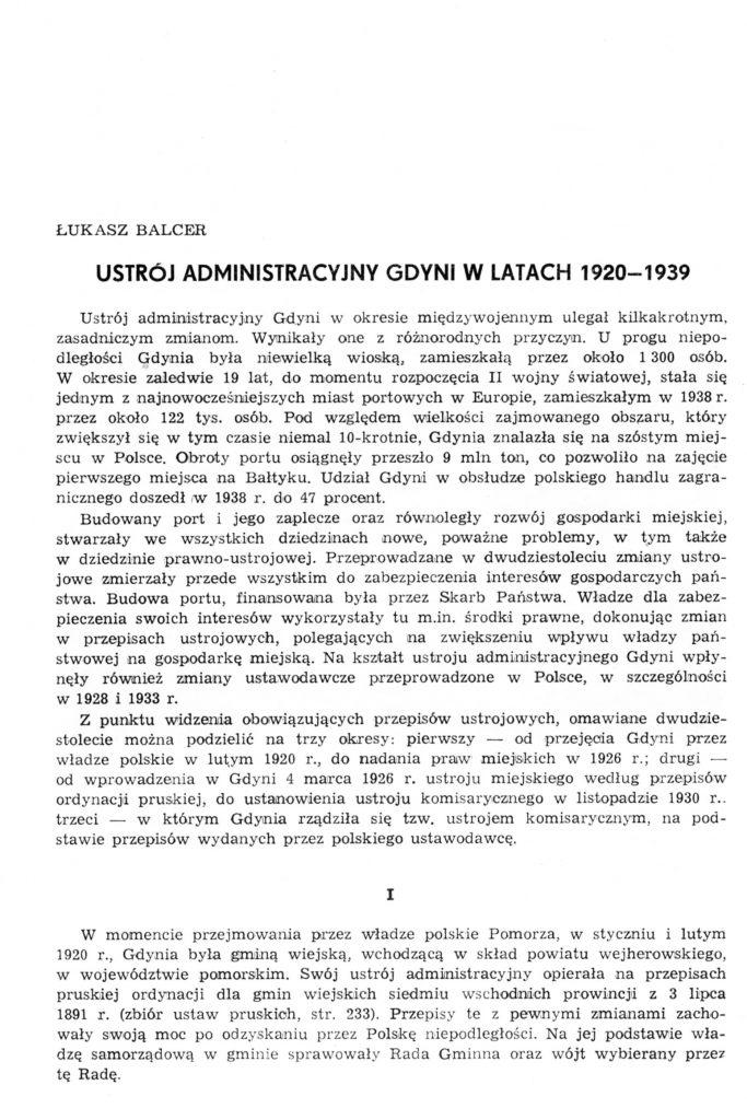 Ustrój administracyjny Gdyni w latach 1920-1939