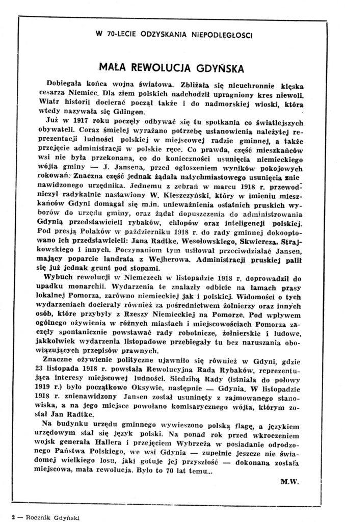Mała rewolucja gdyńska. W 70-lecie odzyskania niepodległości