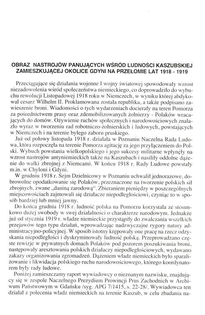 Obraz nastrojów panujących wśród ludności kaszubskiej zamieszkującej okolice Gdyni na przełomie lat 1918-1919