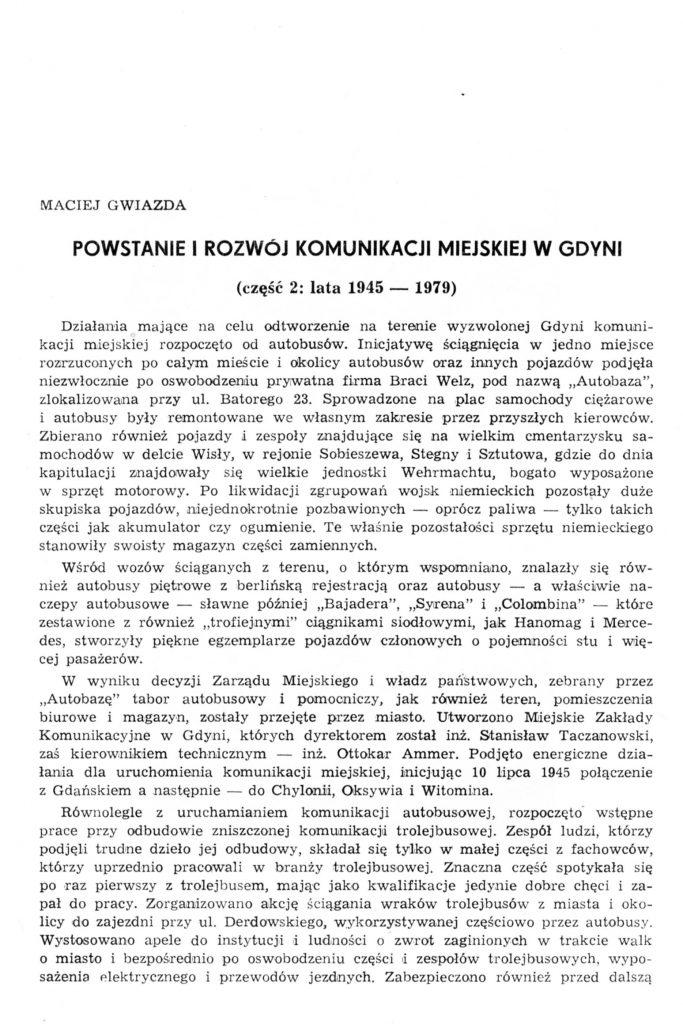 Powstanie i rozwój komunikacji miejskiej w Gdyni (część 2: lata 1945-1979)