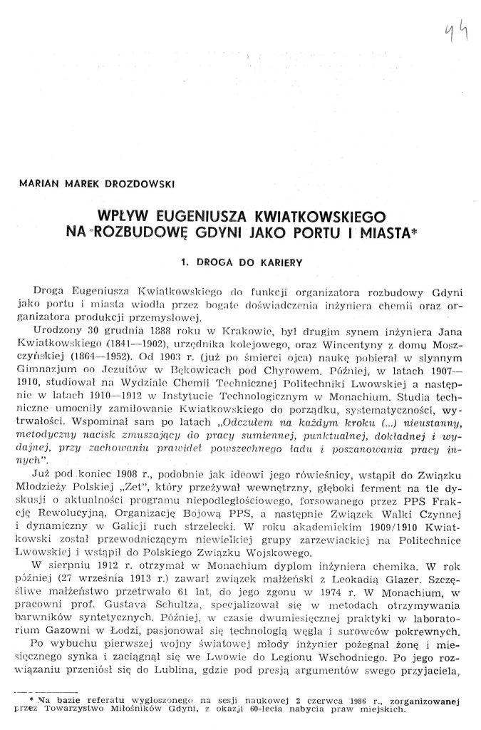 Wpływ Eugeniusza Kwiatkowskiego na rozbudowę Gdyni jako portu i miasta