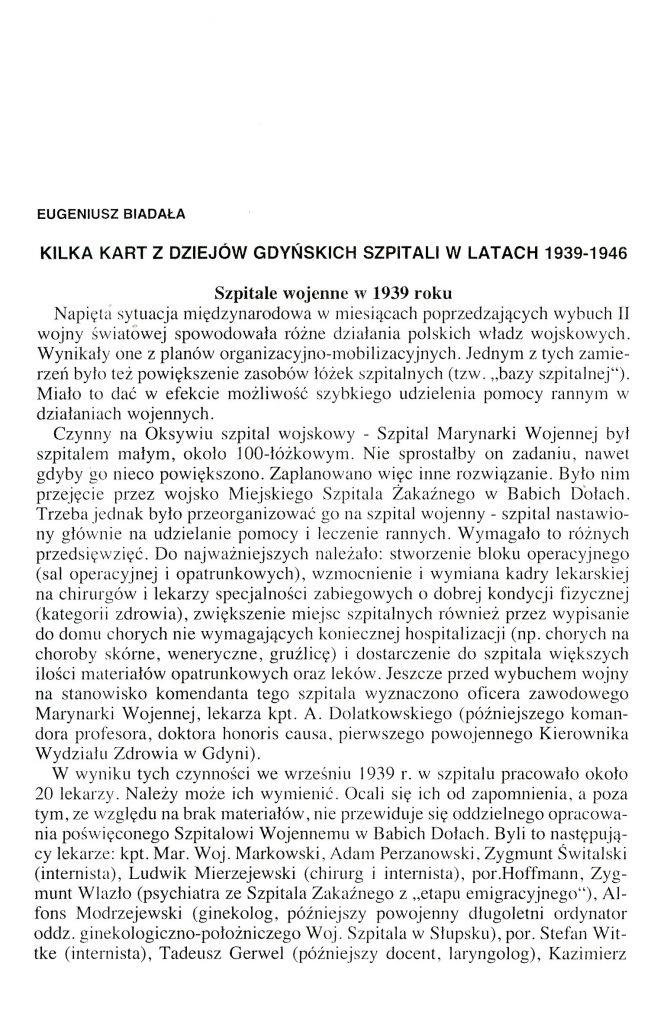 Kilka kart z dziejów gdyńskich szpitali w latach 1939-1946