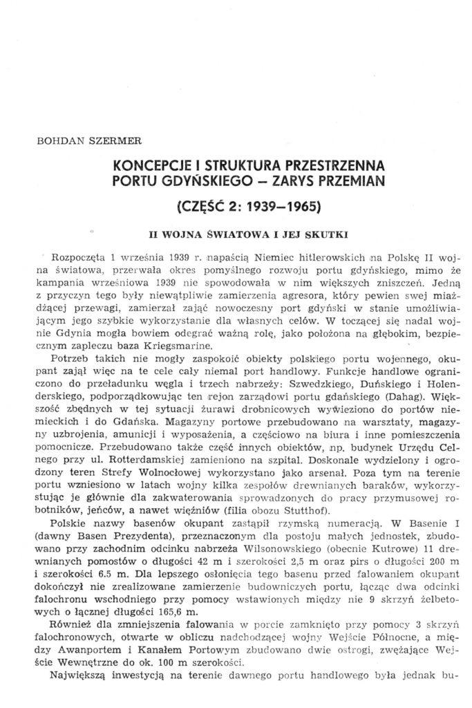 Koncepcje i struktura przestrzenna portu gdyńskiego - zarys przemian (część 2: 1939-1965)