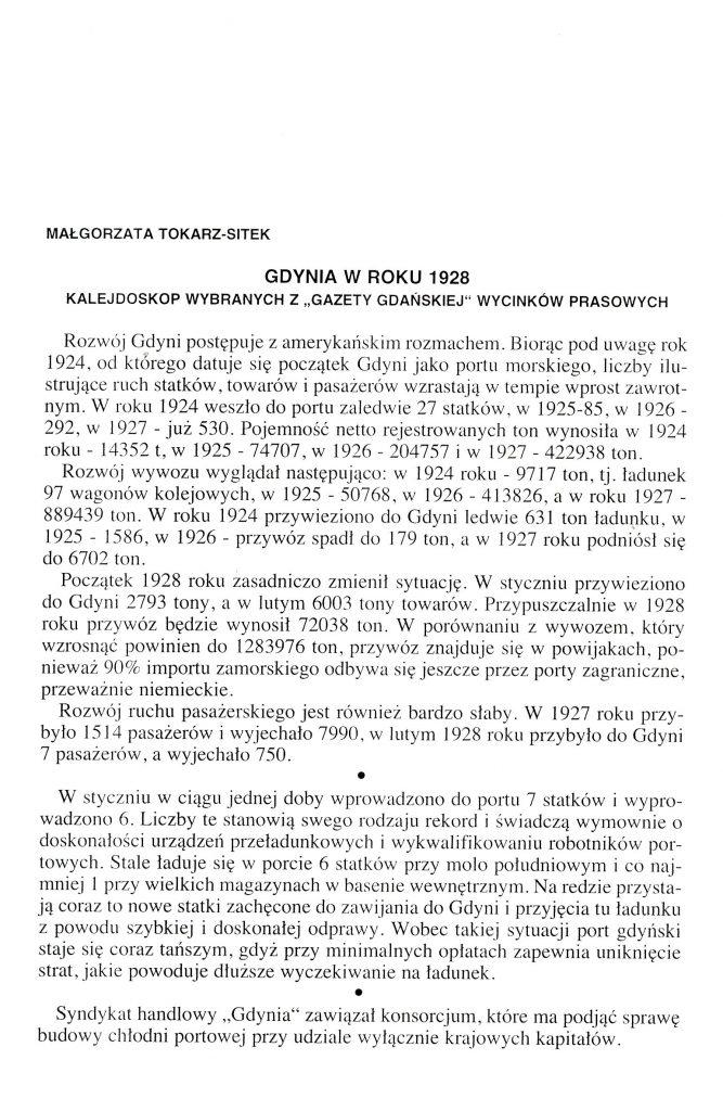 """Gdynia w roku 1928: kalejdoskop wybranych z """"Gazety Gdańskiej"""" wycinków prasowych"""