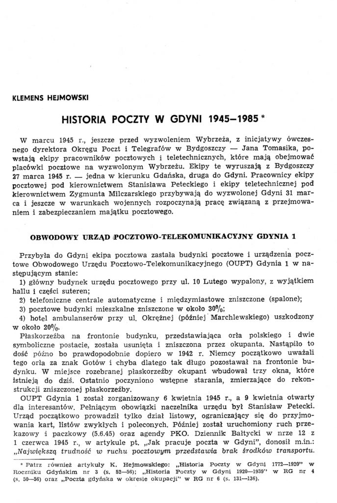 Historia poczty w Gdyni 1945-1985