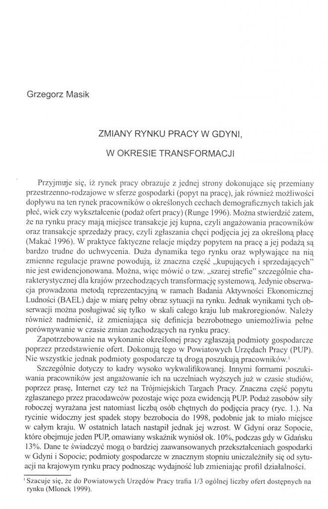 Zmiany rynku pracy w Gdyni, w okresie transformacji