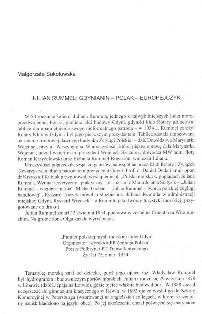 Julian Rummel: Gdynianin - Polak - Europejczyk