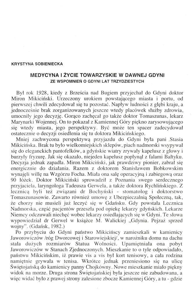 Medycyna i życie towarzyskie w dawnej Gdyni: ze wspomnień o Gdyni lat trzydziestych