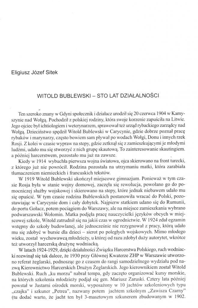 Witold Bublewski - sto lat działalności
