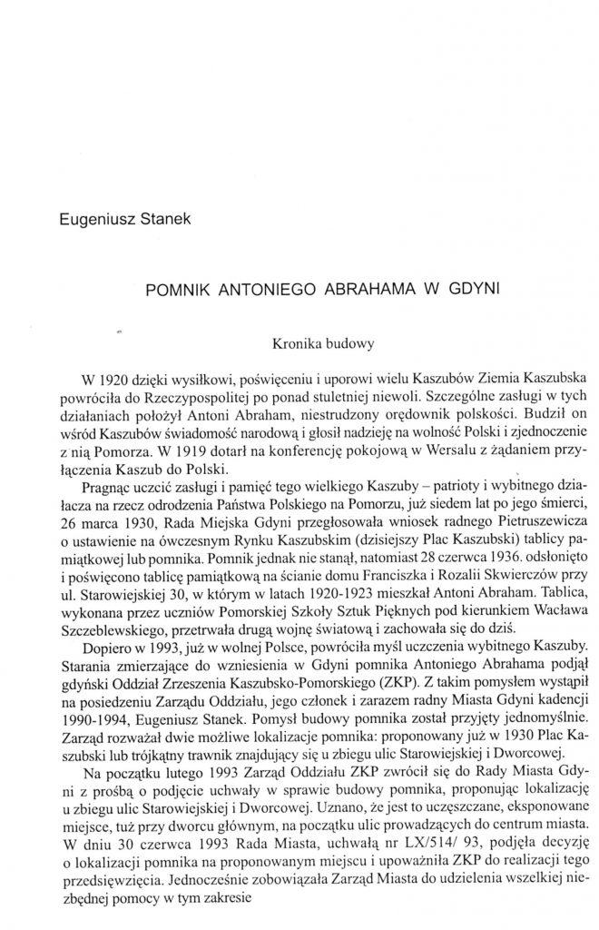 Pomnik Antoniego Abrahama w Gdyni: kronika budowy