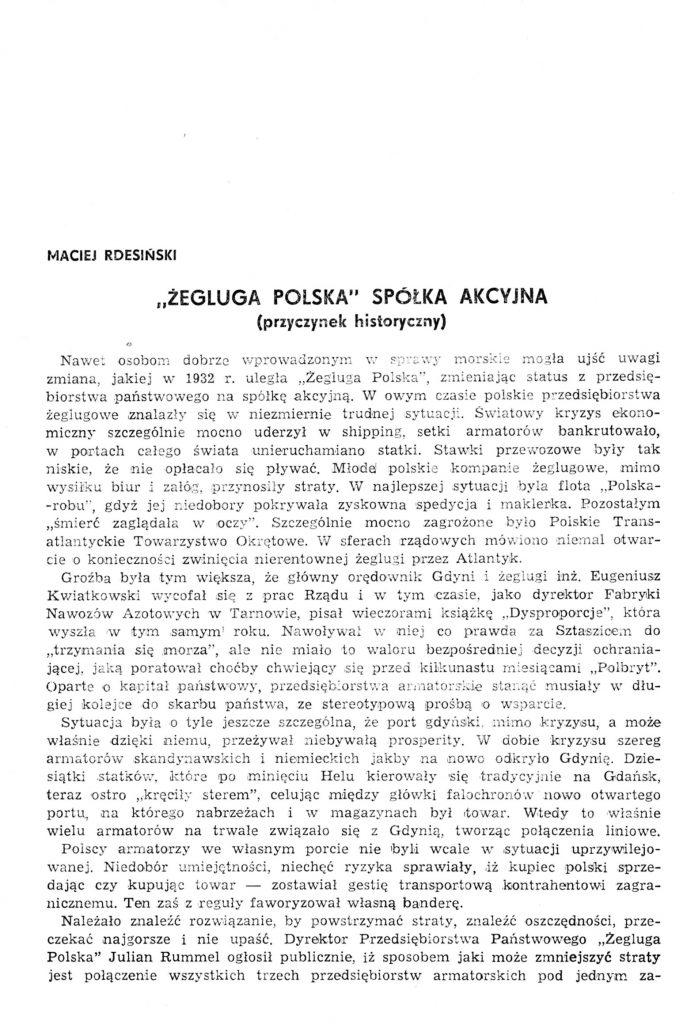"""'Żegluga Polska"""" Spółka AKcyjna (przycyznek historyczny)"""