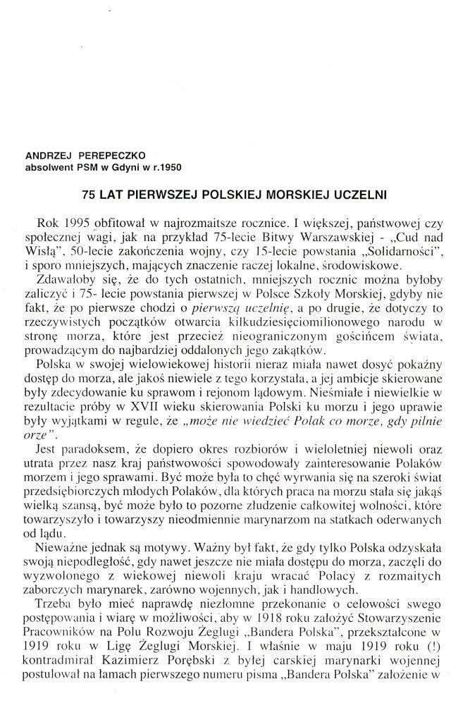 [Siedemdziesiąt pięć] 75 lat pierwszej polskiej morskiej uczelni