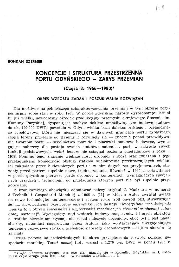 Koncepcje i struktura przestrzenna portu gdyńskiego - zarys przemian (część 3: 1966-198)