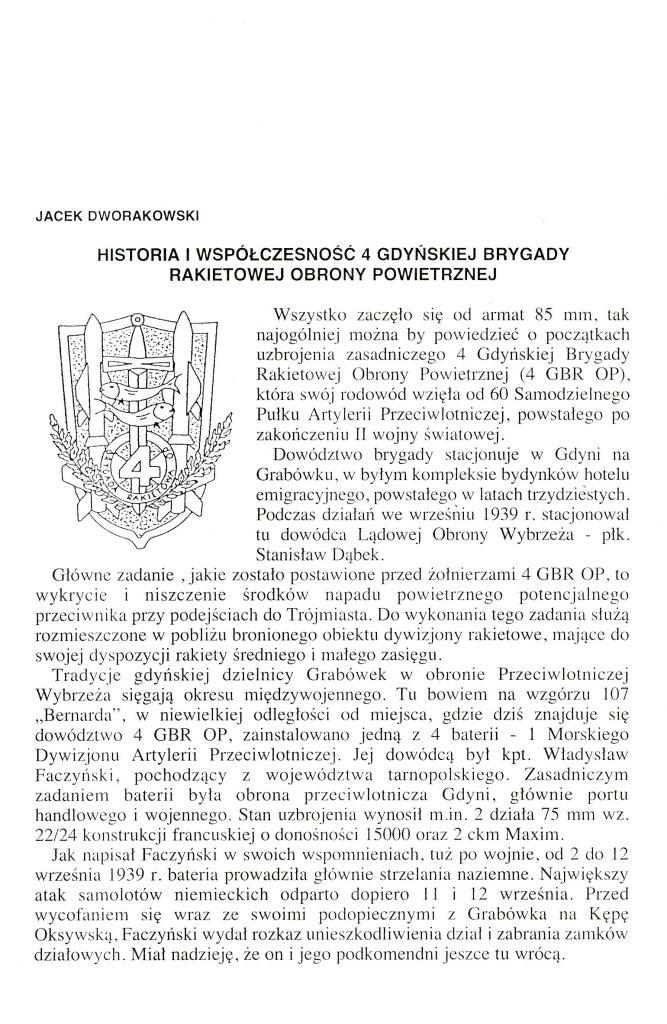 Historia i współczesność 4 Gdyńskiej Brygady Rakietowej Obrony Powietrznej