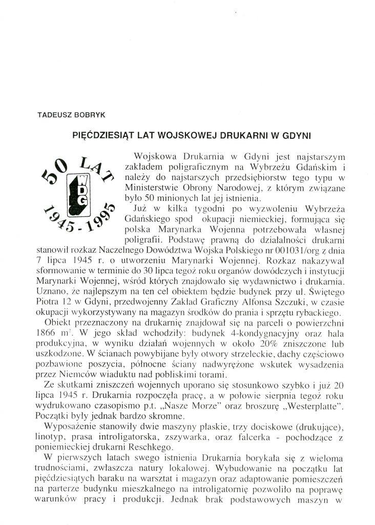 Pięćdziesiąt lat Wojskowej Drukarni w Gdyni