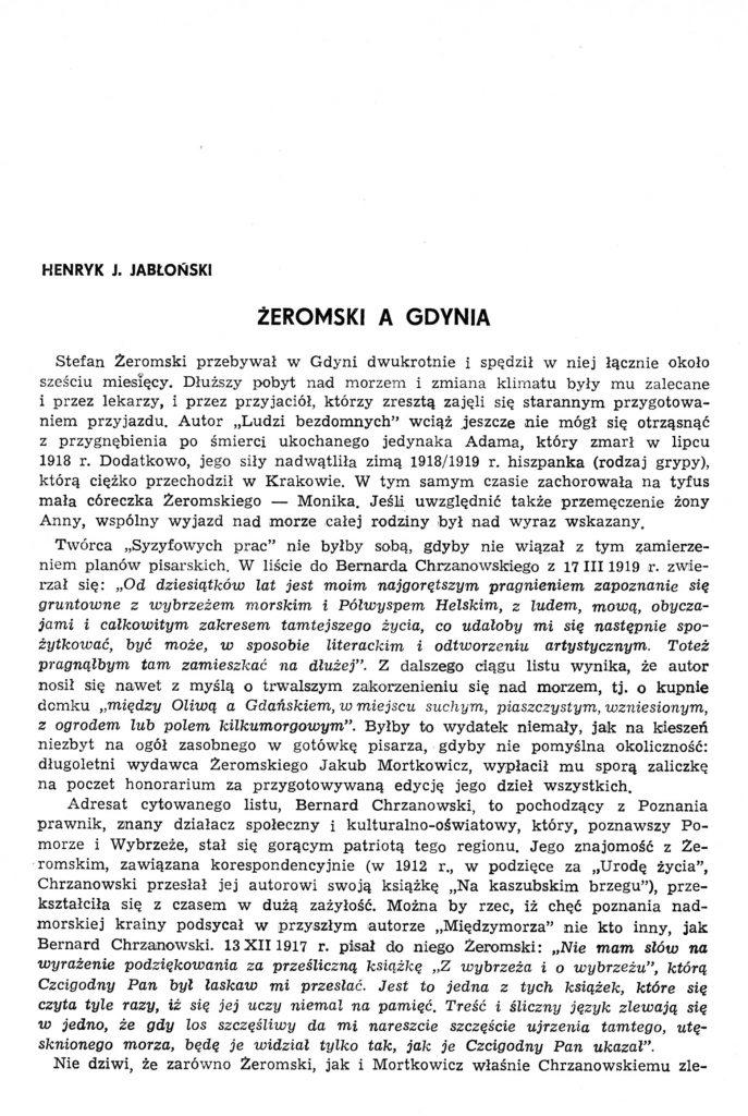 Żeromski a Gdynia