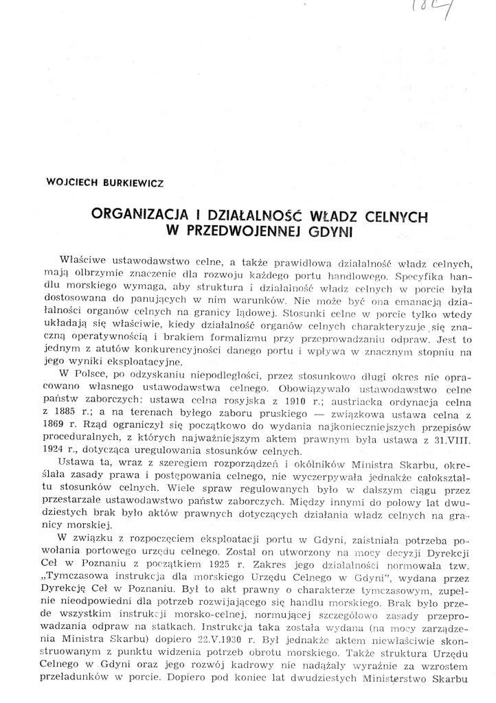 Organizacja i działalność władz celnych w przedwojenej Gdyni
