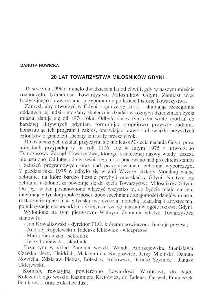 20 lat Towarzystwa Miłośników Gdyni