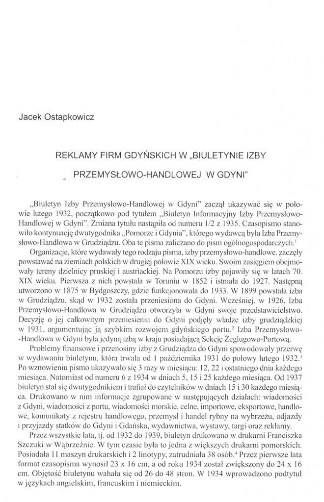"""Reklamy firm gdyńskich w """"Biuletynie Izby Przemysłowo-Handlowej w Gdyni"""""""