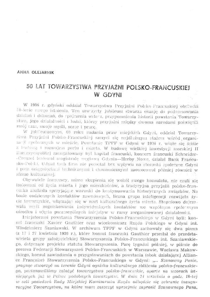 50 lat Towarzystwa Przyjaźni Polsko-Francuskiej