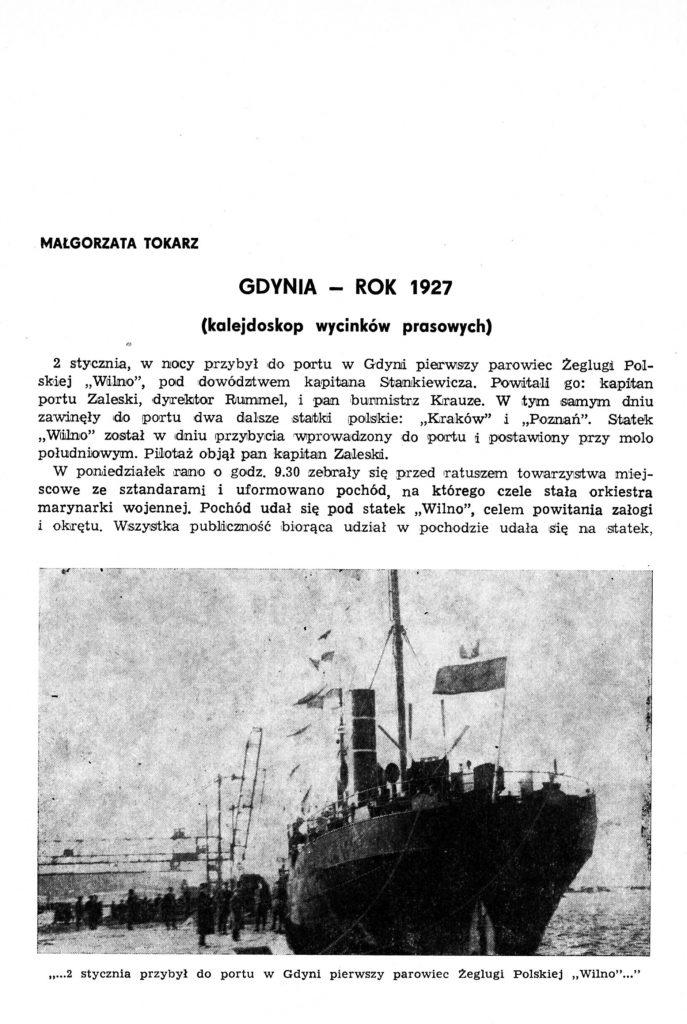 Gdynia - rok 1927 (kalejdoskop wycinków prasowych)