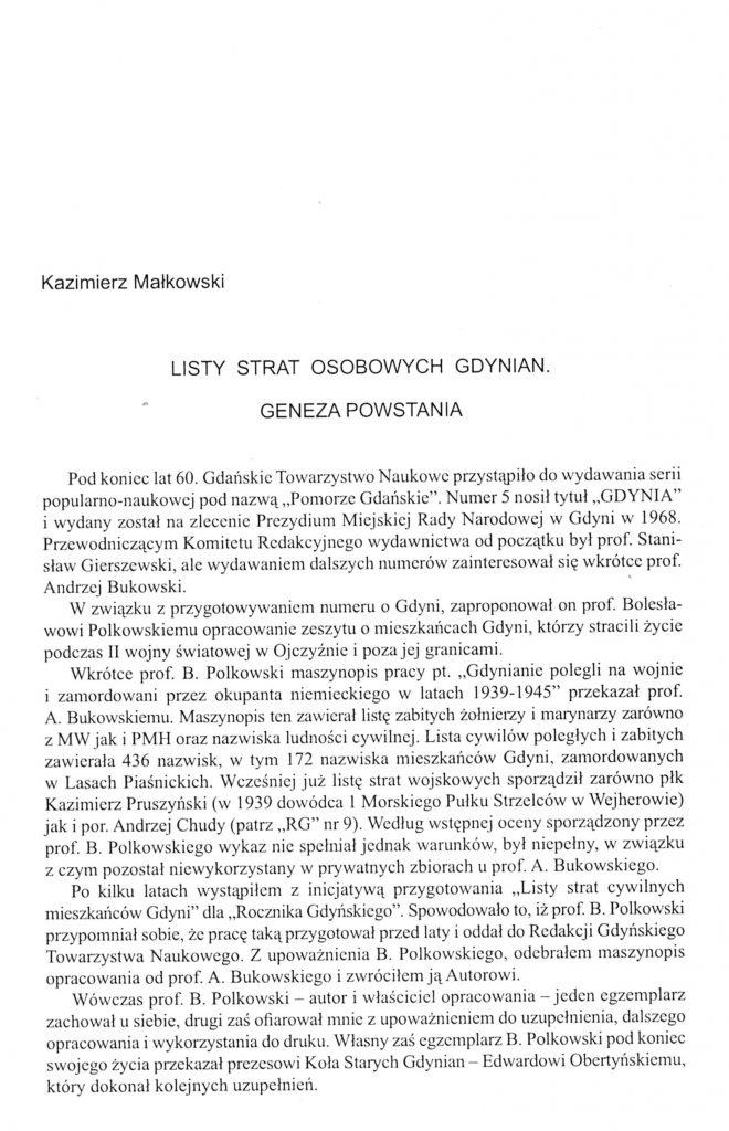 Listy strat osobowych Gdynian: geneza powstania