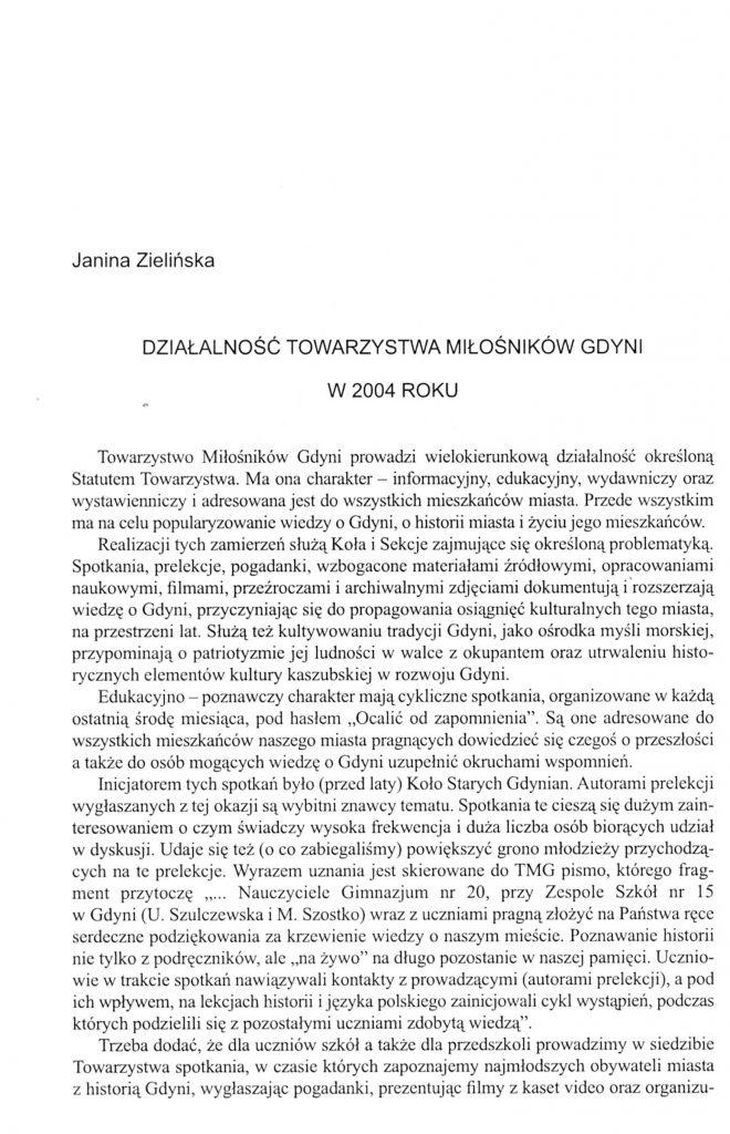 Działalność Towarzystwa Miłośników Gdyni w 2004 roku