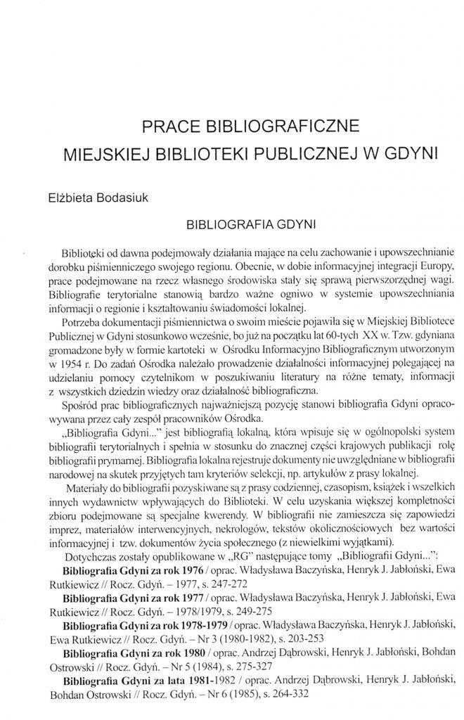 Prace bibliograficzne Miejskiej Biblioteki Publicznej w Gdyni